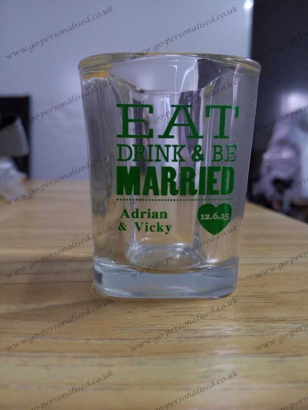 custom printed shot glass, wedding favor